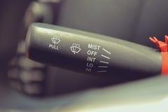 Macro foto di regolazione del controllo dei tergicristalli Fotografia Stock