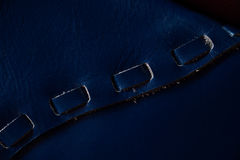 Macro fragment of a leather bag or purse. Handmade, texture background. Stock Photography
