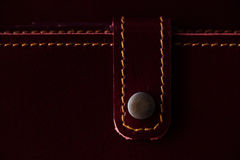 Macro fragment of a leather bag or purse. Handmade, texture background. Stock Images