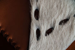 Macro fragment of a leather bag or purse. Handmade, texture background. Cow purse Stock Photography