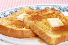 Macro french toast and syrup Royalty Free Stock Images