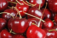 Macro fresh cherries shallow DOF royalty free stock images