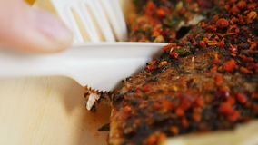 Macro Fresh Grill Fish with Spices Cut with Plastic Knife. Macro fresh tasty aromatic grill fish with spices cut with plastic knife and fork on paper plate stock video footage