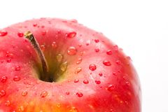 Macro of fresh red wet apples with drops. Healthy eating. stock photography