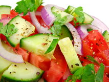 Macro Fresh Salad. Fresh salad in macro islolated on white background.  Suitable for backgrounds Stock Image