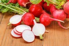 Macro of fresh sliced radish in crate Stock Image