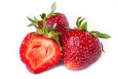 Macro of fresh strawberries Stock Images