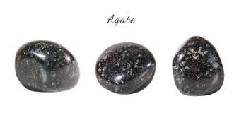 Macro fucilazione della pietra preziosa naturale Agata minerale cruda, India Oggetto isolato su una priorità bassa bianca Fotografie Stock