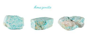 Macro fucilazione della pietra preziosa naturale Amazonite minerale crudo Oggetto isolato su una priorità bassa bianca Fotografia Stock