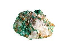 Macro fucilazione della pietra preziosa naturale Malachite minerale cruda morocco Oggetto isolato su una priorità bassa bianca Immagini Stock Libere da Diritti