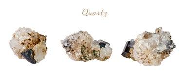 Macro fucilazione della pietra preziosa naturale Quarzo minerale crudo Oggetto isolato su una priorità bassa bianca Fotografie Stock Libere da Diritti