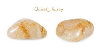 Macro fucilazione della pietra preziosa naturale Quarzo peloso, pietra preziosa minerale Oggetto isolato su una priorità bassa bi Fotografie Stock