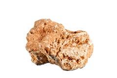 Macro fucilazione della pietra preziosa naturale Selenite minerale cruda, Marocco Oggetto isolato su una priorità bassa bianca Immagine Stock