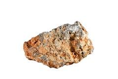 Macro fucilazione della pietra preziosa naturale Selenite minerale cruda, Marocco Oggetto isolato su una priorità bassa bianca Fotografia Stock Libera da Diritti