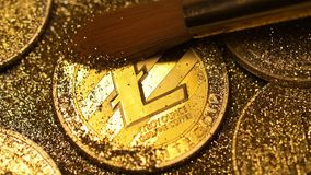 Brush Cleans L Coin Made As Currency from Sparkles Macro. Macro fur brush cleans golden litecoin made as currency protected by unique cryptographic key from stock video