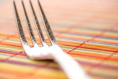 Macro gauche horizontale de fourchette Images libres de droits