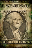 Macro of George Washington on USA dollar banknote grunge vintage style Royalty Free Stock Photo