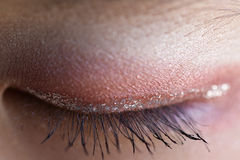 Macro of Girl's Eye. A Macro of a girl's eye after applying make-up before ballet performance stock photos