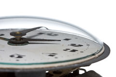 Macro of glass-covered clock dial plate Royalty Free Stock Photos