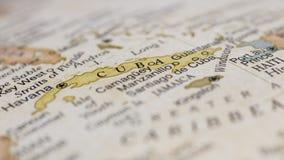 Macro globe map detail of Cuba. Macro of map of Cuba on a globe, narrow depth of field Royalty Free Stock Image