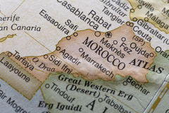 Macro globe map detail Morocco. Macro of Morocco on a globe, narrow depth of field royalty free stock image