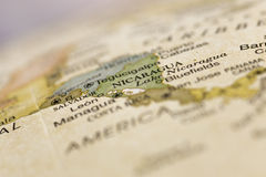 Macro globe map detail Nicaragua. Macro of Nicaragua on a globe, narrow depth of field Royalty Free Stock Photography