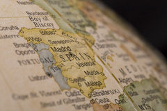 Macro globe map detail of Spain. Macro of Spain on a globe, narrow depth of field Royalty Free Stock Image