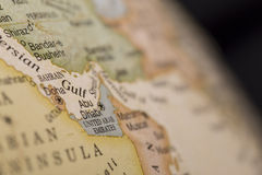 Macro globe map detail United Arab Emirates Stock Photos