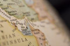 Macro globe map detail United Arab Emirates. Macro of United Arab Emirates on a globe, narrow depth of field Stock Photos