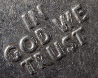 Macro In God We Trust. Type from macro US currency quarter IN GOD WE TRUST metal words Royalty Free Stock Photography