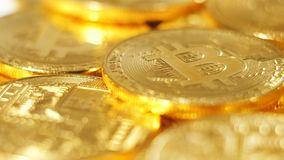 Macro Golden Coins Pipe Created As World Virtual Currency. Macro golden coins pipe created as virtual currency which cryptographic information impossible to copy stock footage