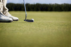 Macro of golfer putting. Royalty Free Stock Photo