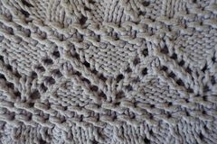 Macro of gray handmade zigzag knitted openwork Royalty Free Stock Photography