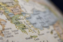 Macro of Greece on a globe. Narrow depth of field Stock Photo