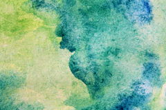 Macro Green with Blue Watercolour Textures 12 Stock Image