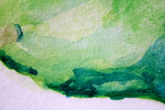 Macro Green with Blue Watercolour Textures 6 Royalty Free Stock Photo