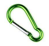 Macro of green carabiner hook with spring loaded gate Royalty Free Stock Photo