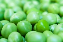 Macro of green peas background. Selective focus Stock Photography