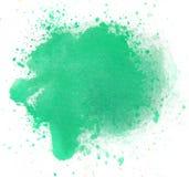 Macro Green watercolor splash,  on white background Stock Photo