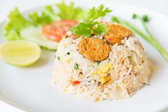 Macro Grill Northern Thai Sausage fried rice with egg Royalty Free Stock Image