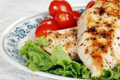 Macro grilled chicken with lettuce and tomatoes Royalty Free Stock Photos