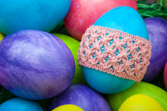 Macro group of easter eggs Royalty Free Stock Photo