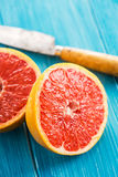 Macro of halved grapefruit Royalty Free Stock Images