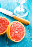 Macro of halved grapefruit Stock Images