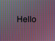 Macro Hello. Macro picture of the word Hello showing the pixel grid of a LCD screen Royalty Free Stock Photos