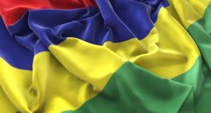 Macro het Close-upschot van Mauritius Flag Ruffled Beautifully Waving Royalty-vrije Stock Foto's