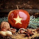 Macro Holiday Fruit - Red Apple with Carved Star Stock Photography