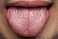 Macro of human tongue. Man show tongue close-up Stock Photos