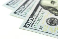 Macro hundred dollars on white background Royalty Free Stock Images