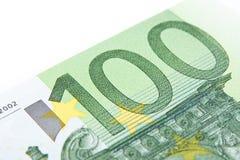Macro hundred euro. Close-up of 100 euro banknote Royalty Free Stock Photo